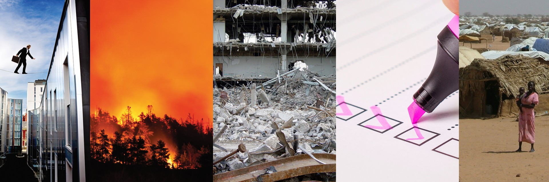 Collage av illustrasjonbilder som viser farlige situasjoner