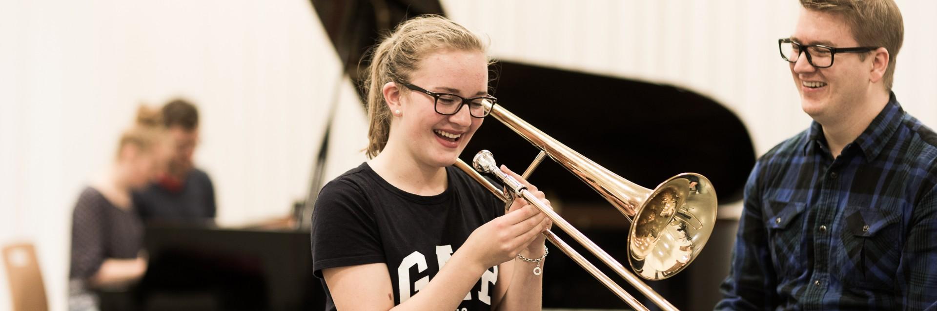 Foto fra Jazzskolen. Jazzstudent Vegard Haugen. Foto: Morten Berentsen.