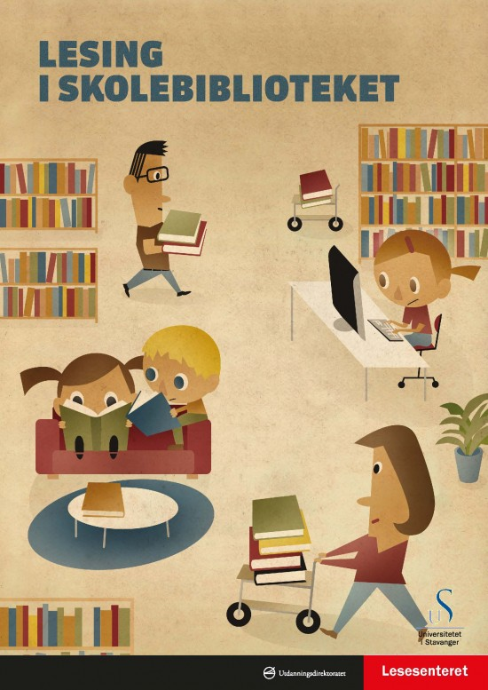 Forside: Lesing i skolebiblioteket. Illustrasjon: Tegning fra et bibliotekmiljø