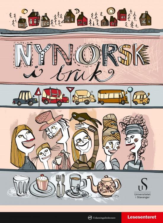 Forside: Nynorsk i bruk. Illustrasjon: Tegning av folk på fest