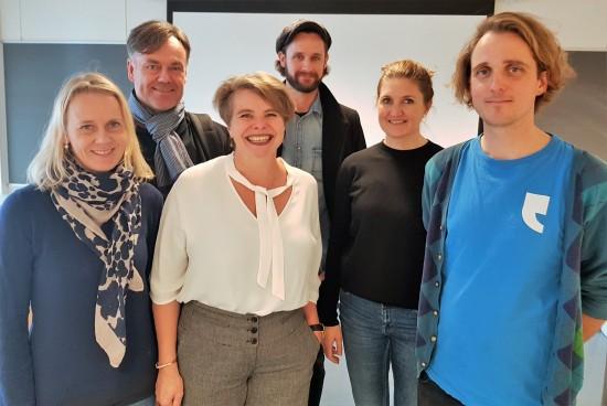 Denne gjengen drar i gang praksisemne for humaniorastudentar våren 2019. Frå venstre Ine Fintland, Jan Inge Reilstad, Brita Strand Rangnes, Birk Magnussen, Marita Aksnes og Espen Røsbak.