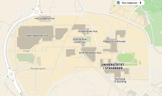 Illustrasjon av det interaktive kartet over campus Ullandhaug