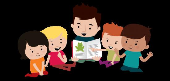 Illustrasjon av barn og voksen om leser i en bok