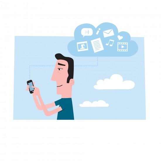 Illustrasjon av mann med mobil og tankesky av apper