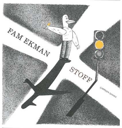 Faksimile: Forside av boka Stoff. Illustrasjon: Fugl dirigerer trafikk.