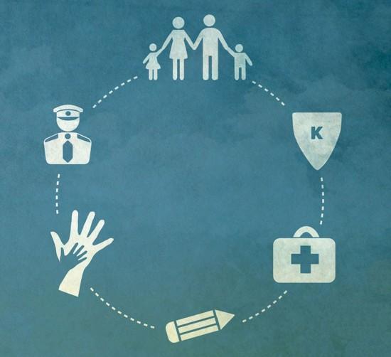 Illustrasjon av familie, politi og andre som kan bidra i kampen mot radikalisering
