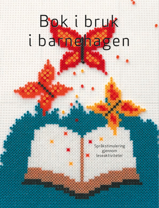 Bokomslag: Illustrasjon der plastperler danner åpen bok det kommer sommerfugler ut av