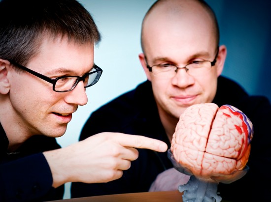 Ståle Gundersen peker på en modell av en hjerne mens Kolbjørn Brønnick ser på.
