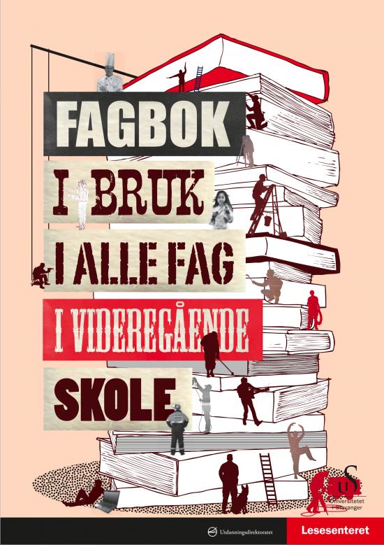 Bokforside: Illustrasjon av et stort boktårn som små mennesker jobber i.
