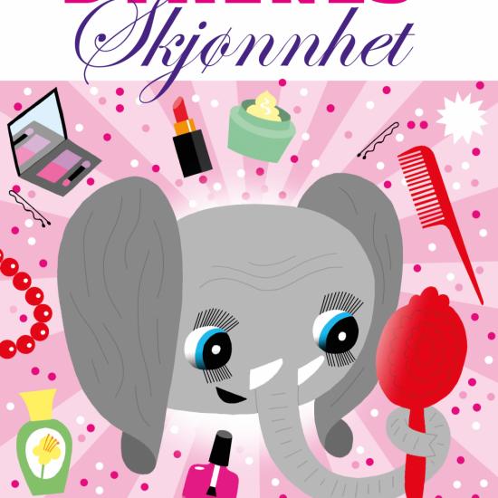 Bokforside: Illustrasjon av en elefant som sminker seg