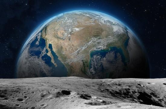 Jordkloden sett fra månens overflate
