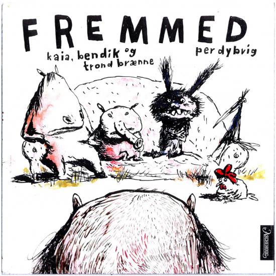 Forside av boka Fremmed: Illustrasjon av flere fabeldyr.