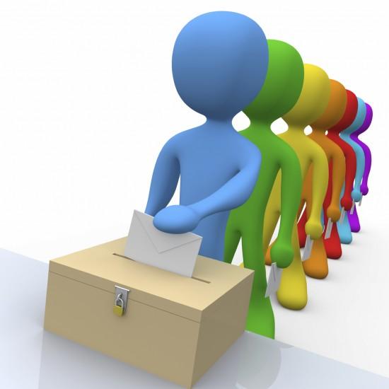 Illustrasjon av en rekke personer som står i kø for å putte stemmeseddel i en valgurne