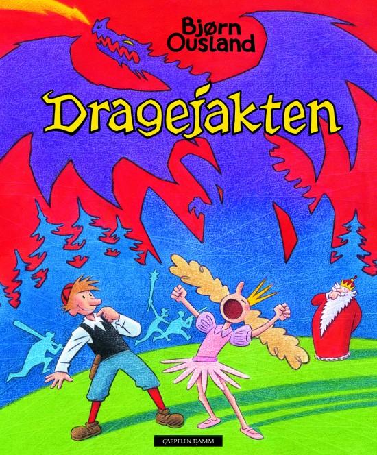 Forside: Illustrasjon som viser Askeladden og prinsessa i forgrunnen, kongen i bakgrunnen og siluetten av en drage på himmelen.