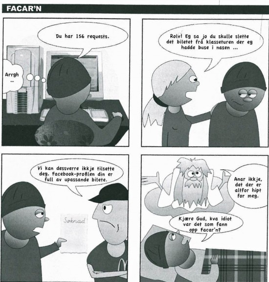 Tegneserie der mann leter etter meningen med Facebook.