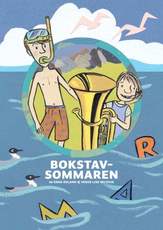 Bokforside: Illustrasjoner av hav der det flyter bokstaver, av gutt med dykkermaske og snorkel, samt jente med tuba.