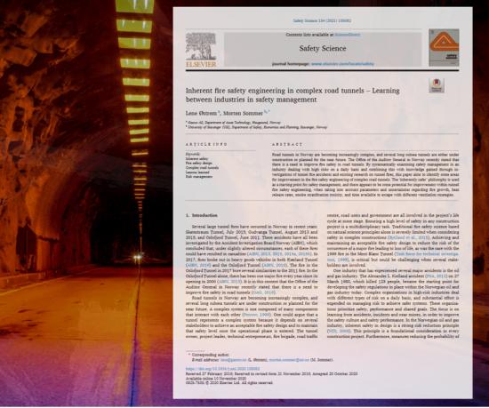"Bilde av artikkelen ""Inherent fire safety engineering in complex road tunels - Learning between industries in safety management"""