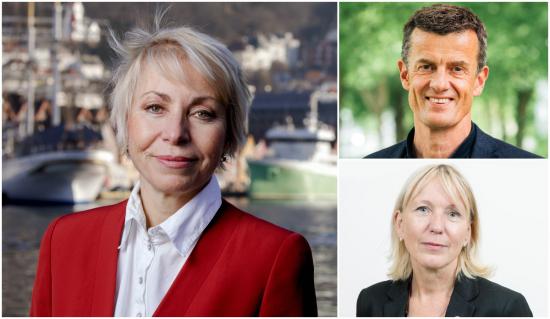 Havforskningsdirektør Sissel Rogne (t.v.) er glad for å kunne lansere samarbeidet med UiS-rektor Klaus Mohn og UiB-rektor Margareth Hagen under oppstarten av FNs havforskningstiår.   Fotograf: Paul S. Amundsen / HI, Mari Hult / UiS, Eivind Senneset / UiB