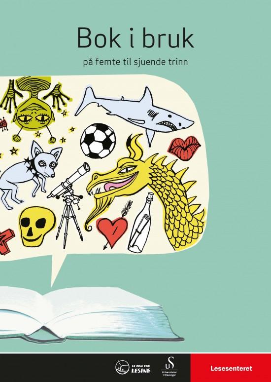 Forside: Snakkeboble med forskjellige tegninger kommer ut av en bok