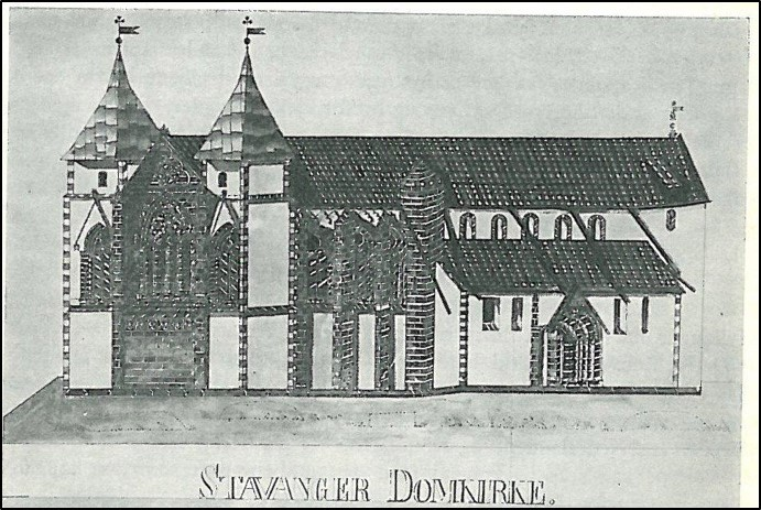Tegning av stavanger domkirke fra 1846