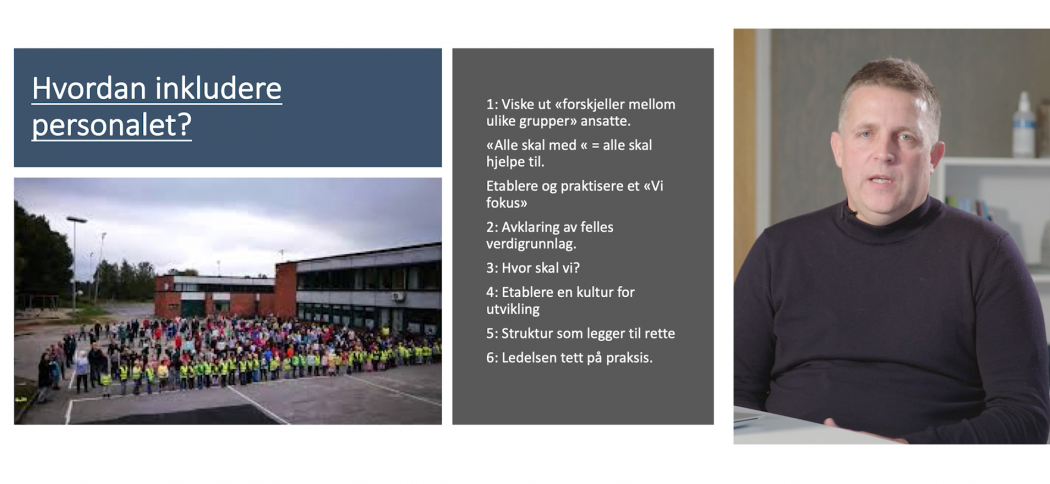 Kim Aas, rektor på Stigeråsen skole, holder foredrag på Læringsmiljøkonferansen.
