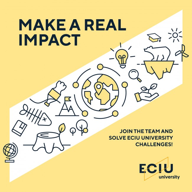 Yellow square banner that says Make a real impact